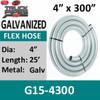 "4"" x 300"" .015 Galvanized Exhaust Flex Hose G15-4300"