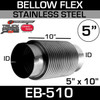 """5"""" ID x 10"""" Stainless Steel 2 Ply Bellows Flex Exhaust Pipe EB-510"""