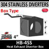 """HB-4SS 2 Position Exhaust Diverter Box 4"""" 304 Stainless Steel 4"""" ID Holes"""