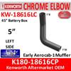 """EP50EL65202C K180-18616CP Kenworth Chrome Left 5"""" Elbow for 45"""" Steps"""