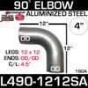 "4"" Exhaust Elbow 90 Degree 12"" x 12"" OD-OD Aluminized L490-1212SA"
