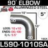 "5"" 90 Degree Exhaust Elbow 10"" x 10"" OD-OD Aluminized L590-1010SA"