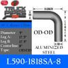 """L590-1818SA-8 5"""" 90 Degree Aluminized Exhaust Elbow 18"""" x 18"""" OD-OD W-8"""" Centerline"""