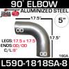 """5"""" 90 Degree Aluminized Exhaust Elbow 18"""" x 18"""" OD-OD W-8"""" Centerline L590-1818SA-8"""