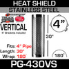 Heat Shield Vertical Slot Polished Stainless Steel with 2 Brackets PG-430VS