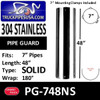 "7"" x 48"" Heat Shield No Holes Polished SS with 2 brackets PG-748NS"
