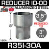 """3.5"""" ID to 3"""" OD Exhaust Reducer Aluminized Pipe R35I-3OA"""