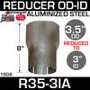 "3.5"" OD to 3"" ID Exhaust Reducer Aluminized Pipe R35O-3IA"