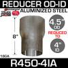 "4.5"" OD to 4"" ID Exhaust Reducer Aluminized Pipe R45O-4IA"