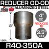 "R4O-35OA 4"" OD to 3.5"" OD Exhaust Reducer Aluminized Pipe"