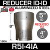 """R5I-4IA 5"""" ID to 4"""" ID Exhaust Reducer Aluminized Pipe"""