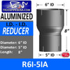 """R6I-5IA 6"""" ID to 5"""" ID Exhaust Reducer Aluminized Pipe"""