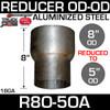 "R8O-5OA 8"" OD to 5"" OD Exhaust Reducer Aluminized"