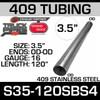 "3.5"" x 120"" Straight Cut 409 Aluminized Stainless Steel Tube S35-120SBS4"