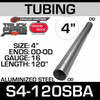 """4"""" x 120"""" Straight Cut Aluminized Exhaust Stack OD End S4-120SBA"""