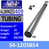 """S4-120SBS4 4"""" x 120"""" Straight Cut 409 Stainless Steel 16 Gauge"""