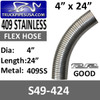 """4"""" x 24"""" 409 Stainless Steel Flex Exhaust Hose S49-424"""