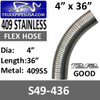 """4"""" x 36"""" 409 Stainless Steel Flex Exhaust Hose S49-436"""