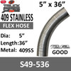 """5"""" x 36"""" 409 Stainless Steel Flex Exhaust Hose S49-536"""