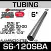 """6"""" x 120"""" Straight Cut Aluminized Tube OD Ends 16 Gauge S6-120SBA"""