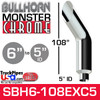 """6"""" x 108"""" Bullhorn Chrome Monster Stack Reduced to 5"""" ID"""