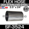 """3.5"""" x 24"""" 304 Stainless Steel Flex Exhaust Hose SF-3524"""
