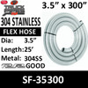 """3.5"""" x 300"""" 304 Stainless Steel Flex Exhaust Hose SF-35300"""