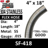 "4"" x 18"" 304 Stainless Steel Flex Exhaust Hose SF-418"