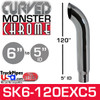 "6"" x 120"" Curved Top Monster Chrome Stack Reduced to 5"" ID"