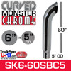 """6"""" x 60"""" Curved Top Monster Chrome Stack Reduced to 5"""" OD"""
