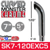 """7"""" x 120"""" Curved Top Monster Chrome Stack Reduced to 5"""" ID"""