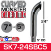 """7"""" x 24"""" Curved Top Monster Chrome Stack Reduced to 5"""" OD"""