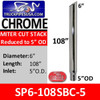 """6"""" x 108"""" Miter Cut Chrome Exhaust Stack Reduced to 5"""" OD SP6-108SBC"""