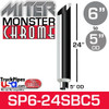 """6"""" x 24"""" Miter Cut Chrome Monster Stack Reduced to 5"""" OD"""
