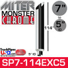 "7"" x 114"" Miter Cut Chrome Monster Stack Reduced to 5"" ID"