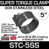 """5"""" Super Torque Exhaust Clamp 304 Stainless Steel STC-5SS"""