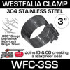 "WFC-3SS 3"" Westfalia 304 Stainless Steel Exhaust Band Clamp"