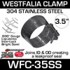 "WFC-35SS 3.5"" Westfalia 304 Stainless Steel Exhaust Band Clamp"