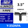 """3.5"""" Y-Pipe Exhaust Aluminized No Plate 14"""" x 10"""" Y-350NPA"""