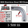 """5"""" 90 Degree Elbow 14.5"""" x 14.5"""" ID-OD 304 Stainless Steel 1-508 SS"""