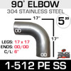 "5"" 90 Degree Elbow 17"" x 17"" OD-OD 304 Stainless Steel 1-512PE SS"