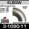 """10"""" Exhaust Elbow 90 Degree Cold Roll Steel 11.875"""" CLR 3-1090-11"""