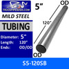 "5"" x 120"" Straight Mild Steel Exhaust Tubing OD-OD S5-120SB or 10-50"