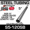"5"" x 120"" Straight Cold Roll Steel Exhaust Tubing OD-OD S5-120SB"