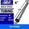 "4"" x 120"" Straight Mild Steel Exhaust Tubing OD-OD S4-120SB or 10-40"