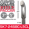 """7"""" x 24"""" Curved Top Paccar Chrome Ceramic Lined Reduced to 5"""" OD"""