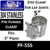 """5"""" Preformed Stainless Steel Exhaust Seal Clamp PF-5SS"""
