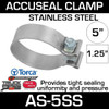 """5"""" Dull Stainless Steel AccuSeal Exhaust Clamp AS-5SS"""