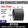 """BT-5SS 5"""" OD 304 Stainless Steel Weld to Stainless Steel Diverter Box"""