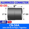 """5 inch Exhaust Connector ID-OD Aluminized 6"""" Long CN-56A"""